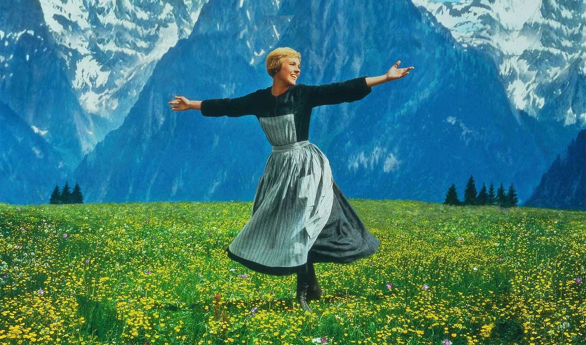 Julie Andrews - scene on the hill in the famous film The Sound of Music