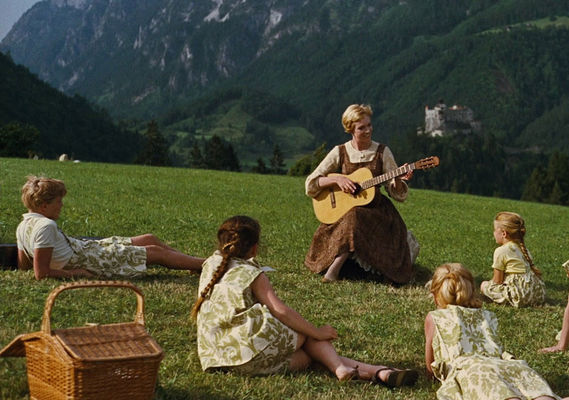 Maria and the children on the meadow
