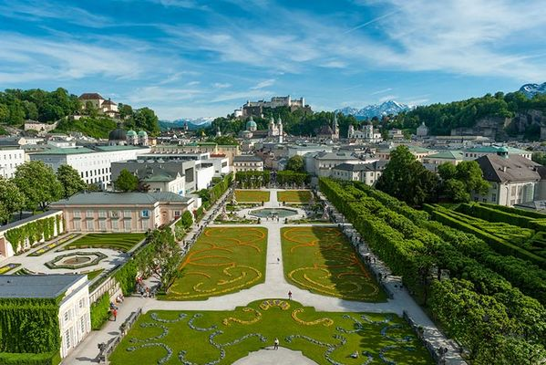 Salzburg panoramic view with Mirabell Garden